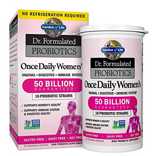 Garden of Life Dr. Formulated Probiotics for Women, Once Daily Women's Probiotics, 50 Billion CFU Guaranteed, 16 Strains, Shelf Stable, Gluten Dairy & Soy Free One a Day, Prebiotic Fiber, 30 Capsules