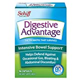 Intensive Bowel Support Probiotic Supplement - Digestive Advantage 96 Capsules, defends against gas, bloating, abdominal discomfort, Survives 100x Better than regular 50 billion CFU