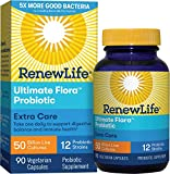 Renew Life Adult Probiotic - Ultimate Flora Extra Care Probiotic Supplement for Men & Women - Shelf Stable, Gluten, Dairy & Soy Free - 50 Billion CFU - 90 Vegetarian Capsules