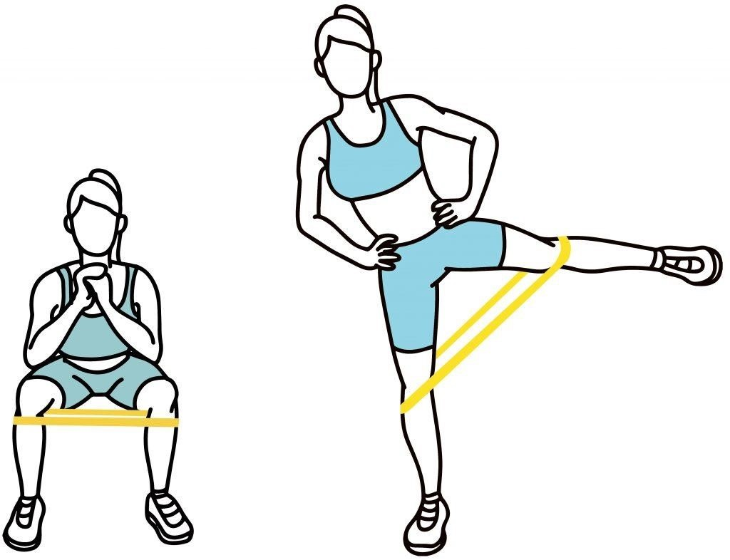Banded Squats with Lateral Leg Lifts